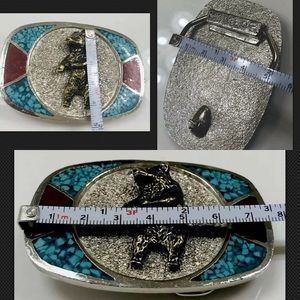 Navajo Accessories - Vtg Navajo M.C. Silver Bear Buckle Turquoise Inlay
